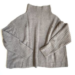RD Style distressed mock neck chunky knit sweater